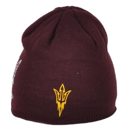 NCAA Adidas Arizona State Sun Devils KY52Z Cuffless Knit Beanie Hat Burgundy