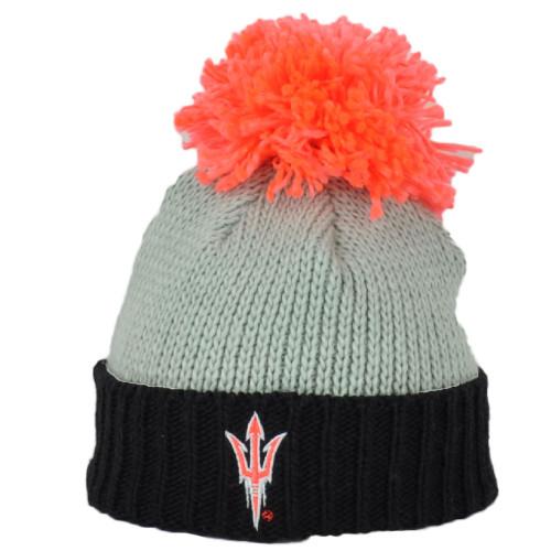 NCAA Adidas Arizona State Sun Devils KX69W Beanie Pom Pom Hat Cuffed Knit Gray