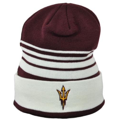 NCAA Adidas Arizona State Sun Devils KW70Z Cuffed Knit Beanie Hat Burgundy White