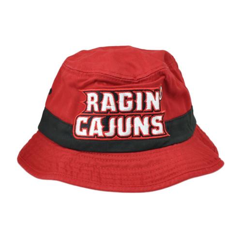 NCAA Louisiana Ragin Cajuns U238Z Red Sun Bucket Hat Small Medium Hat