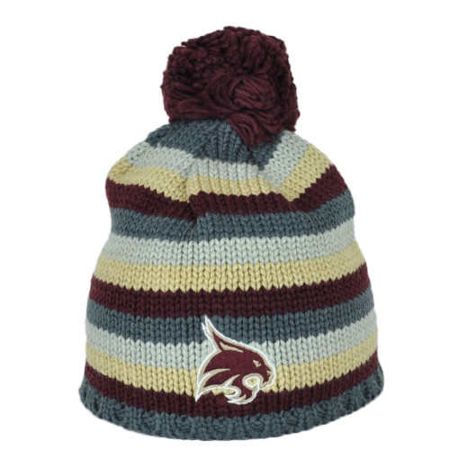 NCAA Adidas Texas State Bobcats KY55Z Striped Pom Pom Cuffless Knit Beanie Hat