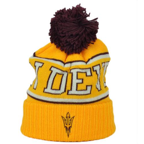 NCAA Adidas Arizona State Sun Devils KU84Z Yellow Knit Beanie Pom Pom Cuffed