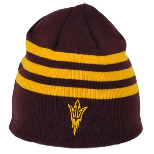 NCAA Adidas Arizona State Sun Devils KR27Z Burgundy Hat Knit Beanie Striped