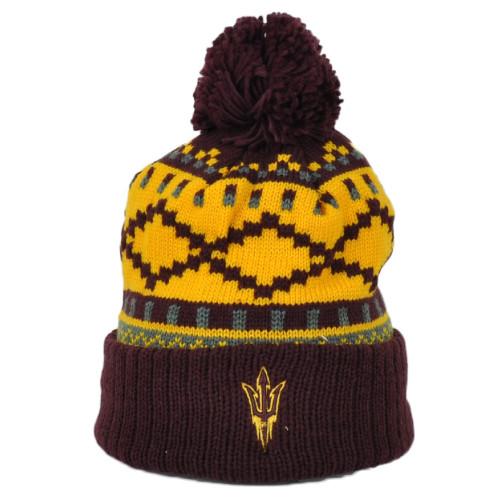 NCAA Adidas Arizona State Sun Devils KU81Z Cuffed Knit Beanie Pom Pom Hat Yellow