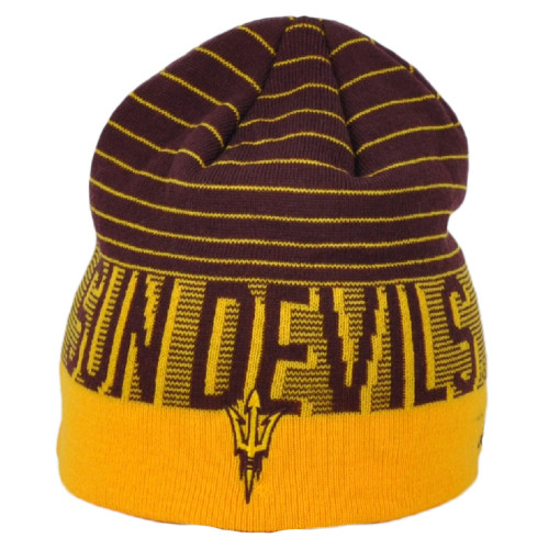 NCAA Adidas Arizona State Sun Devils KX73Z Striped Knit Beanie Cuffless Hat