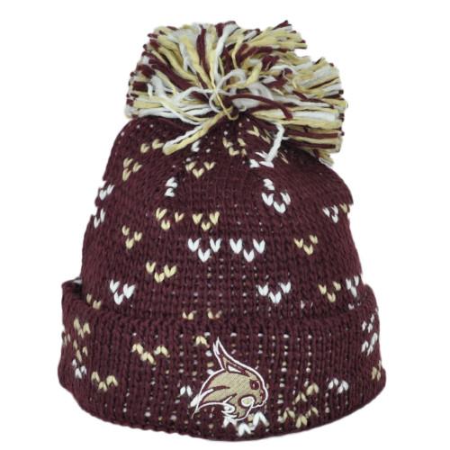 NCAA Adidas Texas State Bobcats 010KW Pom Pom Cuffed Crochet Knit Beanie Hat