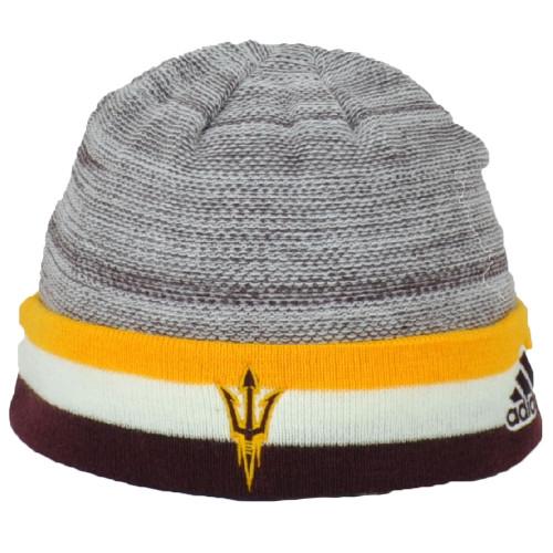 NCAA Adidas Arizona State Sun Devils KX71Z Cuffed Knit Beanie Hat Heather White