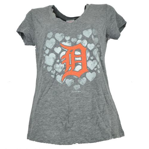 MLB Detroit Tigers Womens Ladies Glitter Logo Heart V Neck Tshirt Tee Gray SMALL