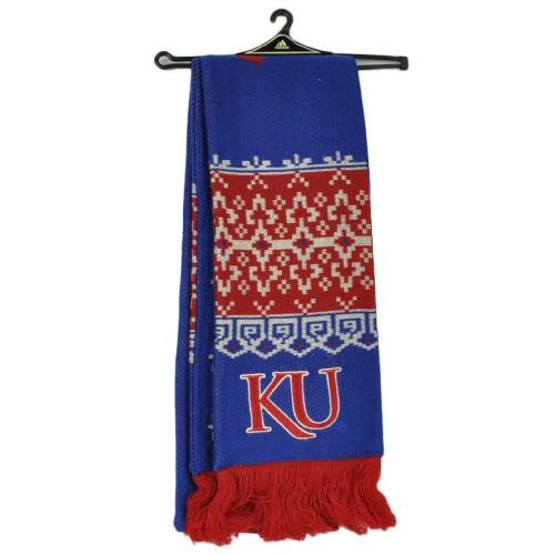 NCAA Adidas Kansas Jayhawks S636W Nordic Fringe Scarf Winter Blue Red Fashion
