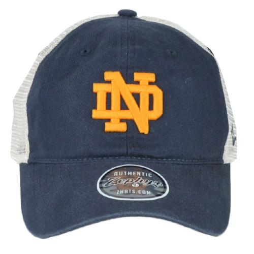 NCAA Zephyr Notre Dame Fighting Irish Mesh Snapback Hat Cap Blue Curved Bill