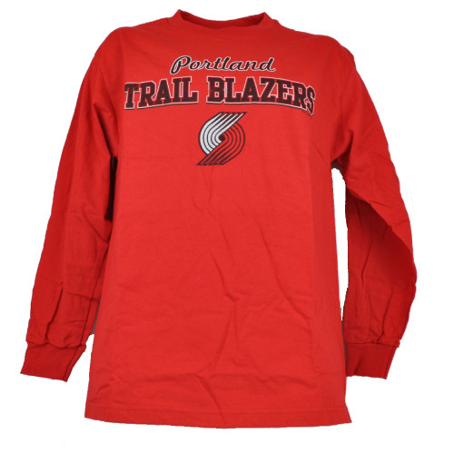NBA Portland Trailblazers Red Long Sleeve Mens Adult Crew Neck Sports Tee