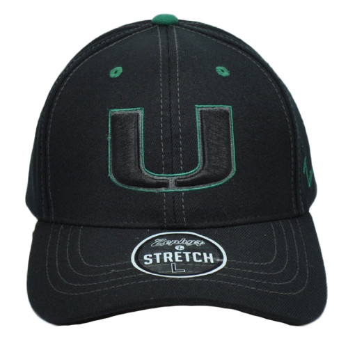 NCAA Zephyr Miami Hurricanes Black Fitted Large Stretch Hat Cap Curved Bill