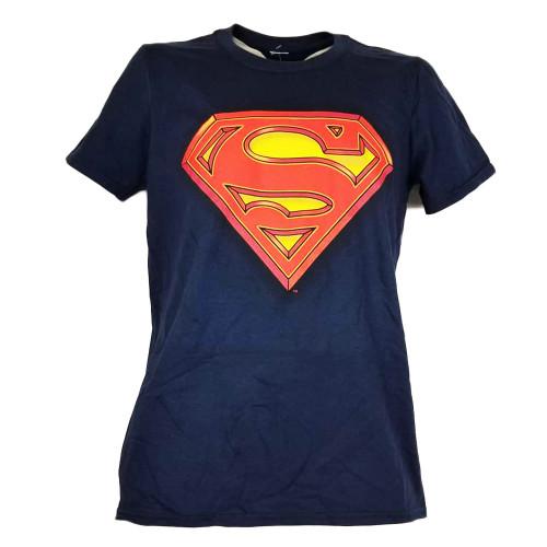 Superman Hero Comic Book Mens Navy Blue Tshirt Crew Neck Short Sleeve Cartoons