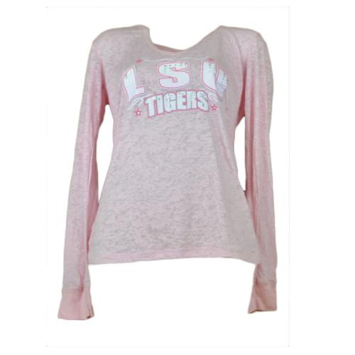 NCAA Louisiana LSU Tigers Pink Long Sleeve Tshirt Tee Hoodie Crew Neck Womens