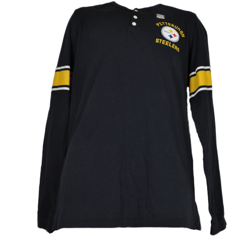 NFL Pittsburgh Steelers Logo Men Long Sleeve Black Crew Neck Tshirt