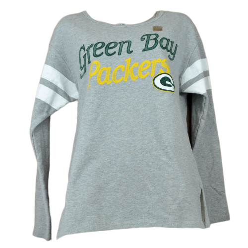 NFL Green Bay Packers Women's Crew Neck Long Sleeve Sweater Distressed Gray
