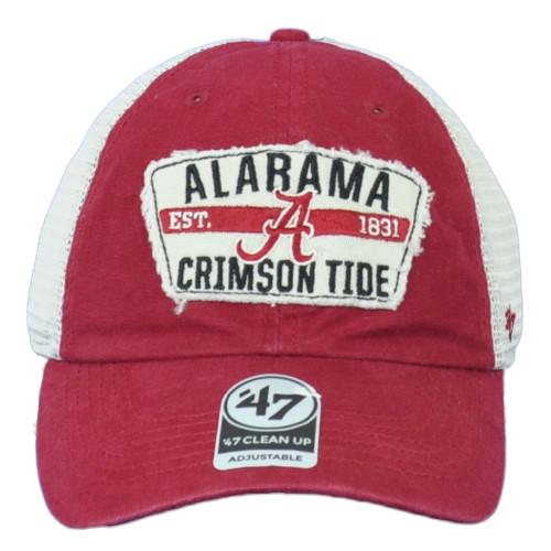 NCAA '47 Brand Alabama Crimson Tide Snapback Red Mesh Hat Cap Curved Bill Clean