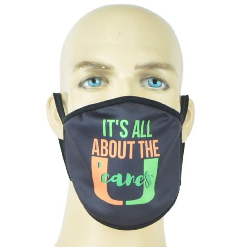 NCAA Miami Hurricanes Face Mask Mouth Washable Fashion Reusable Black Men Women