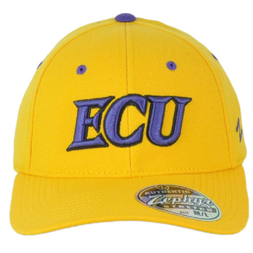 NCAA Zephyr East Carolina Pirates Yellow Flex Fit Stretch Youth Hat Cap Curved