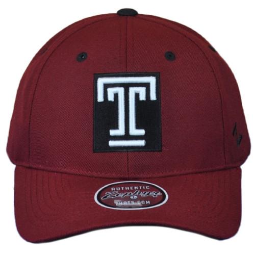 NCAA Zephyr Temple University Owls Maroon Strutured Adult Adjustable Men Hat Cap
