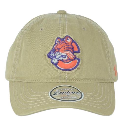 NCAA Zephyr Clemson Tigers Patriarch Adjustable Men Curved Bill Khaki Hat Cap