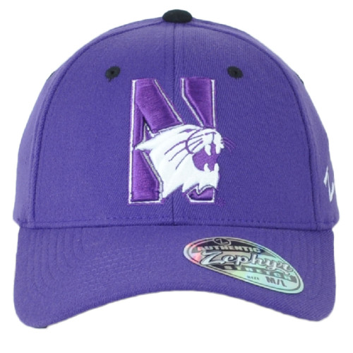 NCAA Zephyr Northwestern Wildcats Curved Bill Fitted Stretch X-Large XL Hat Cap