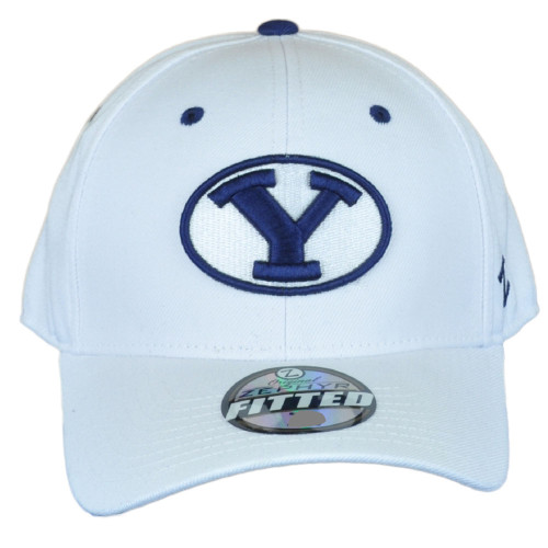 NCAA Zephyr Brigham Young Cougars White Curved Bill Fitted Size 7 1/4 Hat Cap