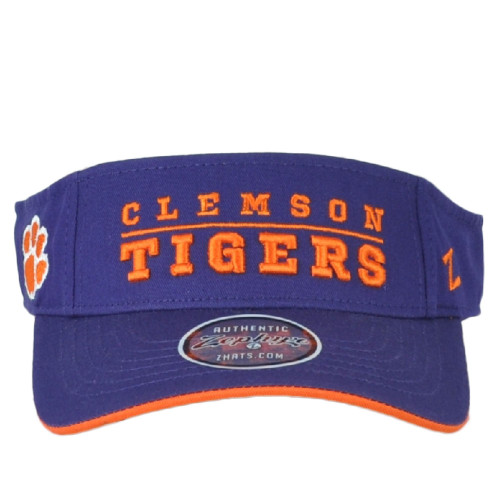 NCAA Authentic Zephyr Clemson Tigers Curved Bill Purple Sun Visor Hat Adjustable