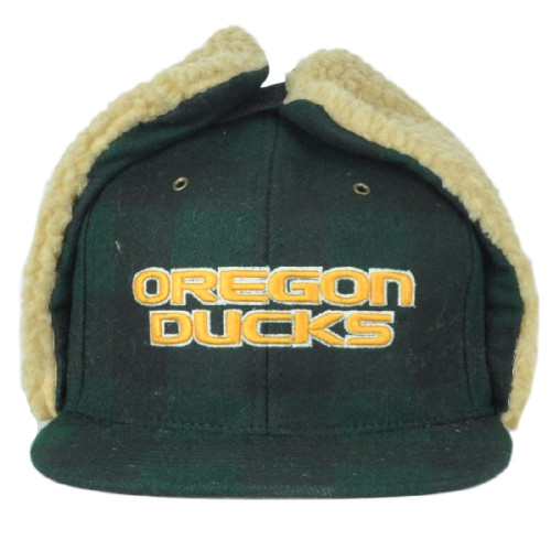 NCAA Zephyr Oregon Ducks Woodsman Ear Flaps Flat Bill Fitted Size 7 3/8 Hat Cap