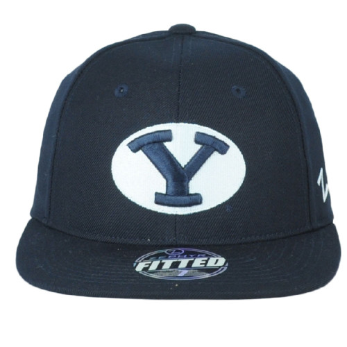 NCAA Zephyr Brigham Young Cougars Navy Blue Flat Bill Fitted Size 7 Hat Cap