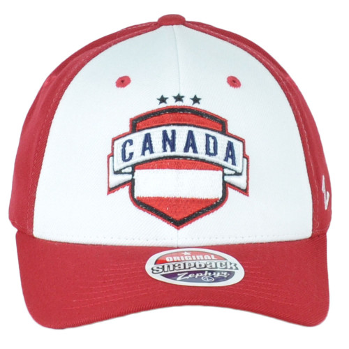 Original Zephyr Snapback Canada Canadian Shield Red White Curved Bill Hat Cap