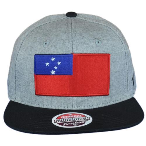 Zephyr Samoa Island Country Gray Black Flat Bill Snapback Adjustable  Hat Cap