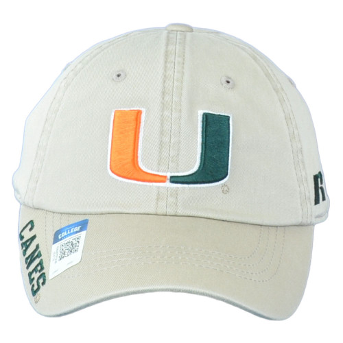 NCAA Russell Miami Hurricanes Canes Khaki Curved Bill Relaxed Adjustable Hat Cap