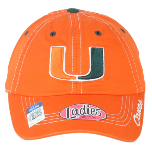 NCAA Captivating Miami Hurricanes Relaxed Womens Ladies Oange Adjustable Hat Cap