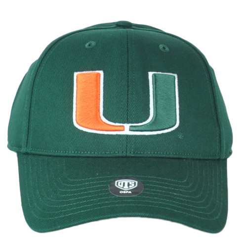 NCAA OTS All Star Miami Hurricanes Constructed Adjustable Curved Bill Hat Cap Gr