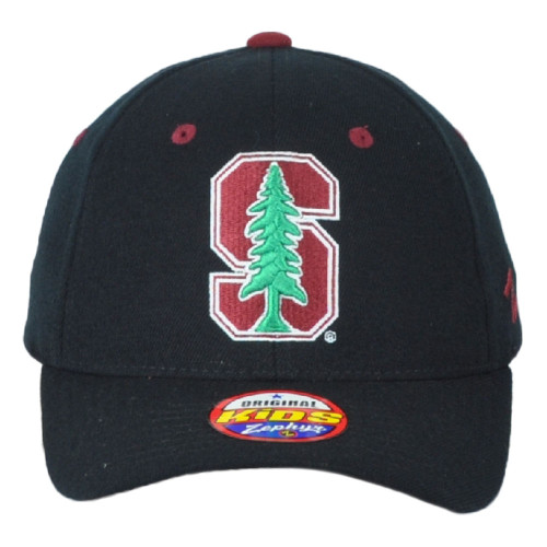 NCAA Zephyr Stanford Cardinal Curved Bill Fitted Youth Teen Black Hat Cap