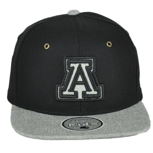 NCAA Zephyr Arizona Wildcats Gray Black Flat Bill Snapback Youth Kids Hat Cap