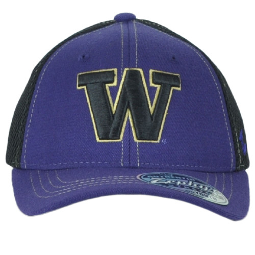 NCAA Zephyr Washington Huskies Kids Youth Mesh Black Purple Stretch Hat Cap