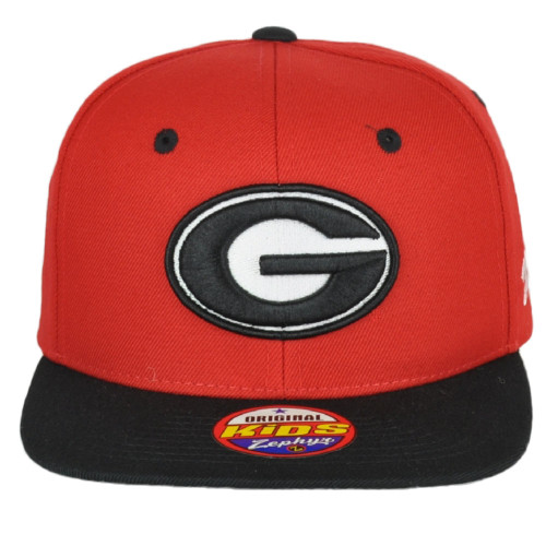 NCAA Zephyr Georgia Bulldogs 990 Red-Black Flat Bill Snapback Youth Kids Hat Cap