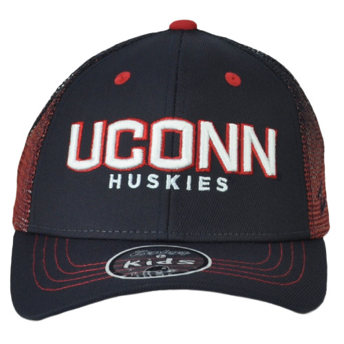 NCAA UCONN Connecticut Huskies Kids Mesh Blue Red Adjustable Snapback Hat Cap
