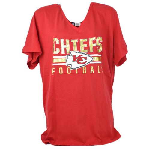 NFL Team Apparel Kansas City Chiefs V-Neck Womens Ladies Red Short Sleeve Shirt