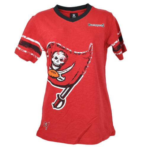 NFL Team Apparel Tampa Bay Buccaneers V-Neck Red Youth Shirt Tee Girls Short Sl
