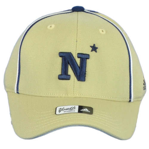 NCAA Adidas Navy Midshipmen TH55B Curved Bill Fitted Mustard Youth Kids Hat Cap