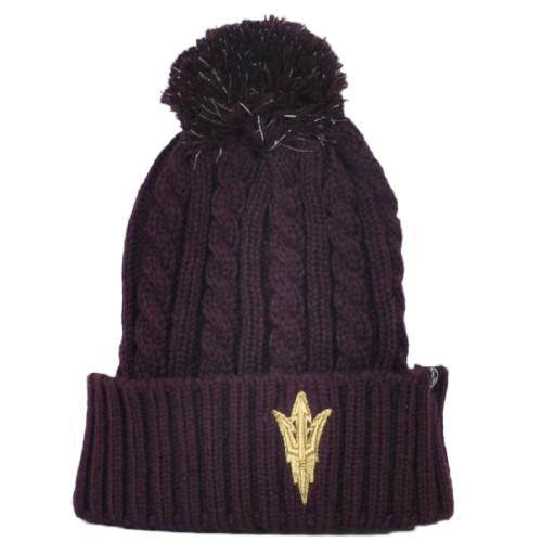 NCAA Zephyr Arizona Sun Devils Crochet Winter Pom Pom Cuffed Knit Beanie Hat