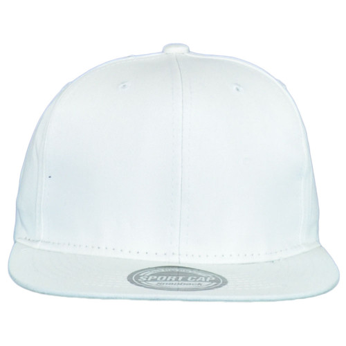 Blank White Constructed Flat Bill Snapback Plain Solid Adult Adjustable Hat Cap