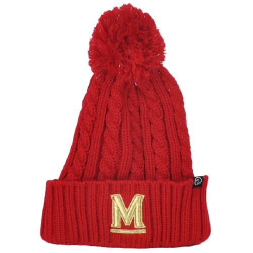 NCAA Zephyr Maryland Terrapins Red Winter Sports Pom Pom Cuffed Knit Beanie Hat