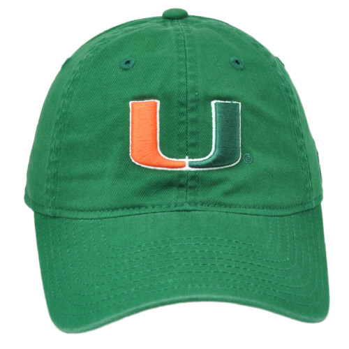 NCAA Adidas Miami Hurricanes Relaxed Slouch Hat Cap Green Curved Bill Canes