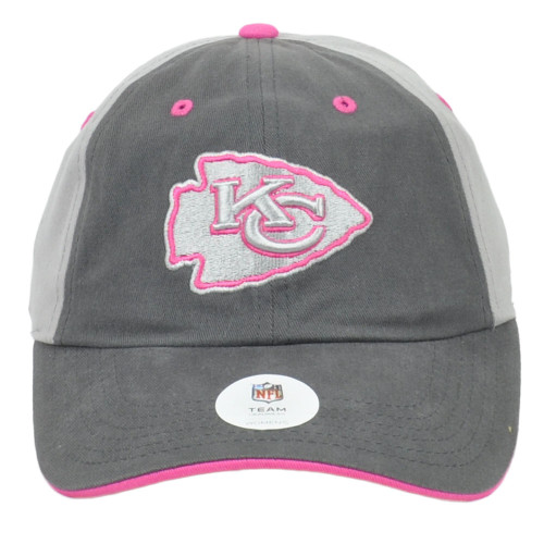 NFL Kansas City Chiefs Womens Ladies Relaxed Gray Curved Bill Adjustable Hat Cap