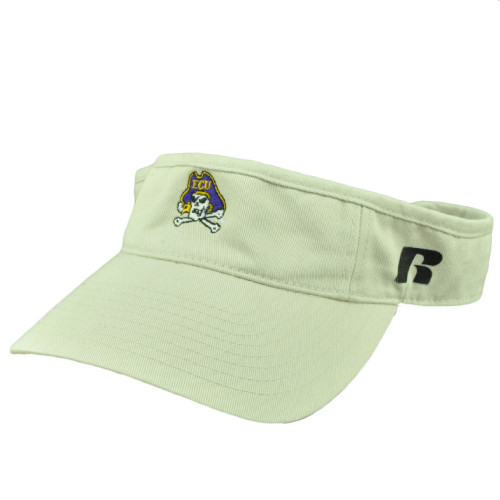 NCAA East Carolina Pirates ECU Sun Visor Beige Hat Captivating Headgear Russell
