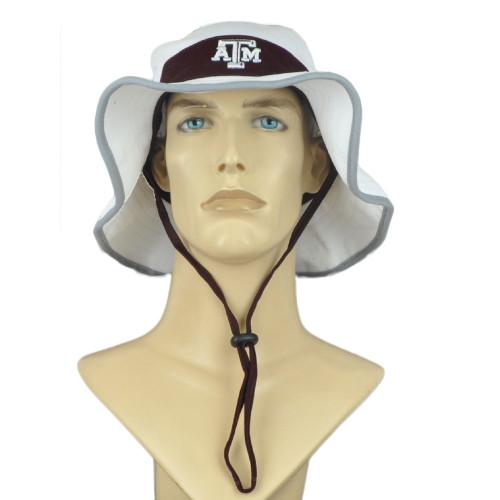NCAA Zephyr Texas A&M Aggies ATM White Outdoor Small Medium Sun Bucket Hat Cord